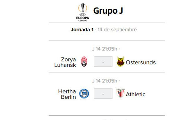 Hertha Berlin - Athletic: horario del partido de Europa League./