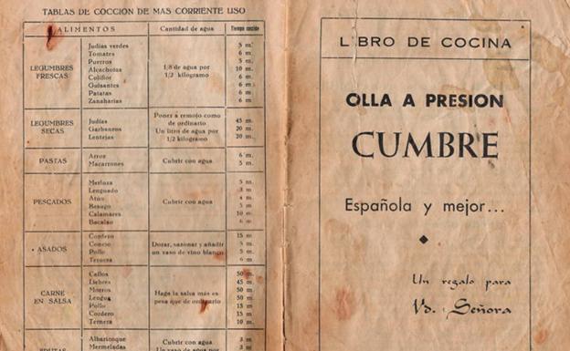 Libro de cocina de las ollas a presión Cumbre (Vitoria, años 60).